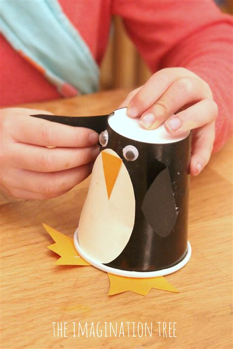 paper cup craft for paper cup penguin craft roll and make ideas