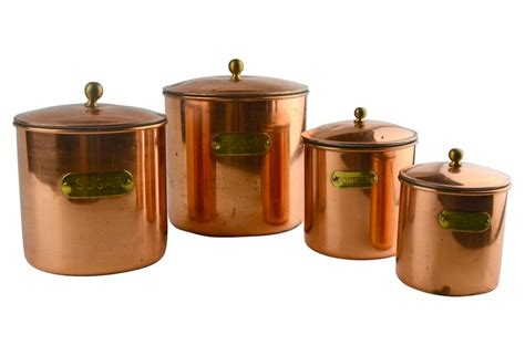 copper canister set kitchen copper kitchen canisters set of 4
