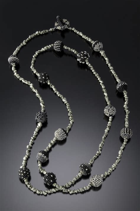 beaded necklaces beaded necklace jet and pyrite julie powell design