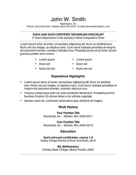 resume format samples word 7 free resume templates primer