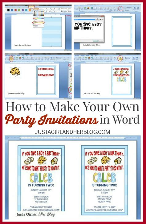 make a card with word how to make your own invitations just a and