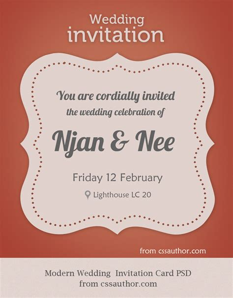 how to make e invitation card modern wedding invitation card psd for free by cssauthor