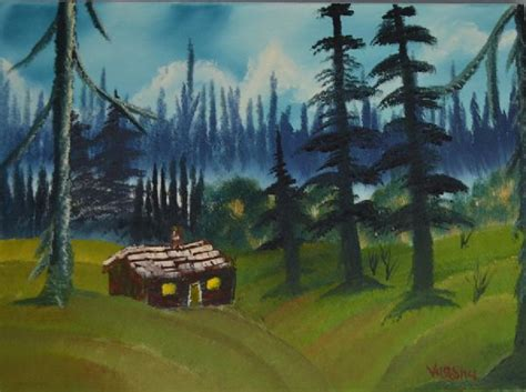 bob ross painting cabin bob ross the lonely cabin painting for sale