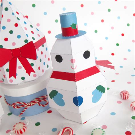 free paper crafts snowman snowgirl and tree treat boxes printable paper
