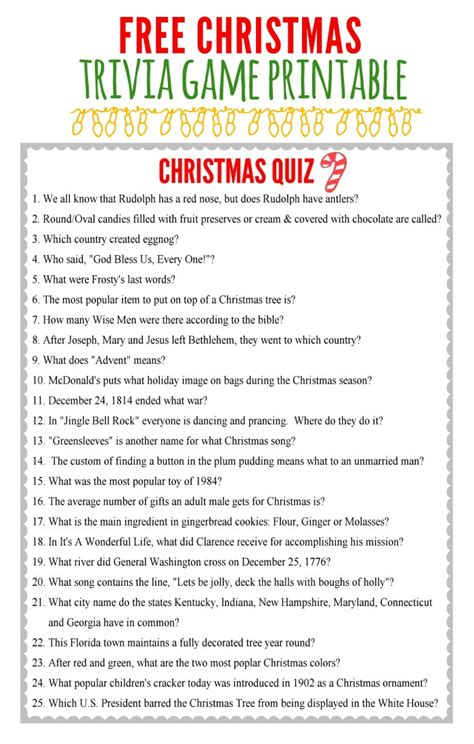 tree facts trivia printable trivia merry