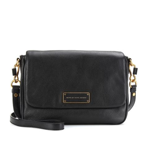 marc black leather tote marc by marc lea leather shoulder bag in black lyst