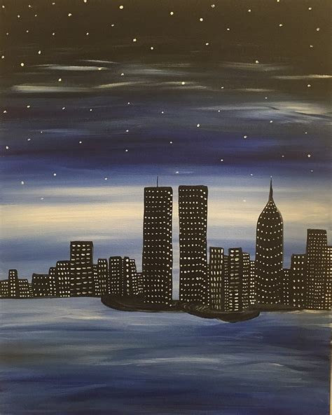 paint nite nyc schedule paint nite nyc skyline tribute