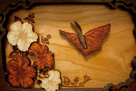 butterfly woodworking wooden cremation urns with woodcut made in usa