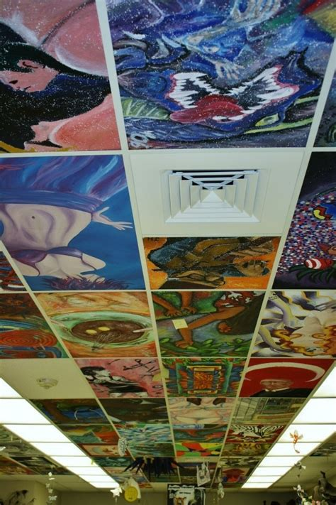 painting acoustic ceiling tiles ceiling tiles painted on ceiling tiles tin