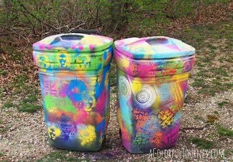 spray paint on trash can trashy graffiti stenciling trash can that is