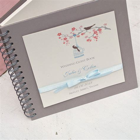 wedding picture guest book birds personalised wedding guest book by beautiful