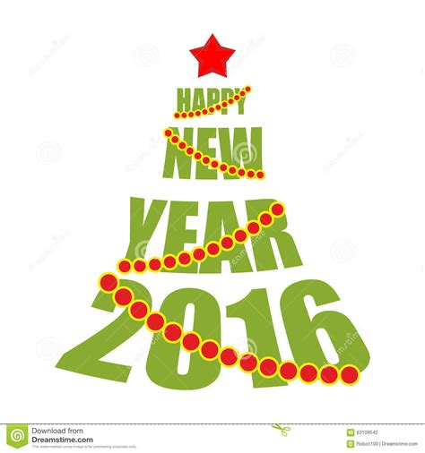 tree text happy new year 2016 tree from text and