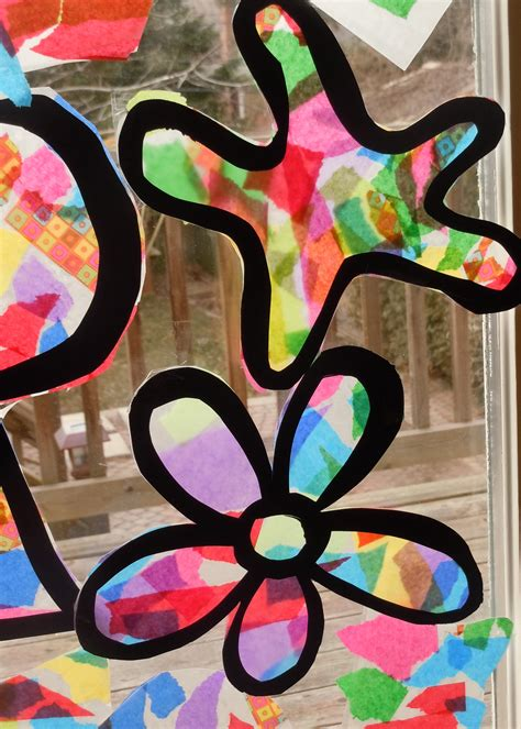 paper stained glass window craft glass window tissue paper stained glass window craft