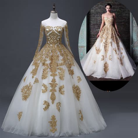 wedding dresses with gold beading muslim bridal wedding dresses real photo gold white