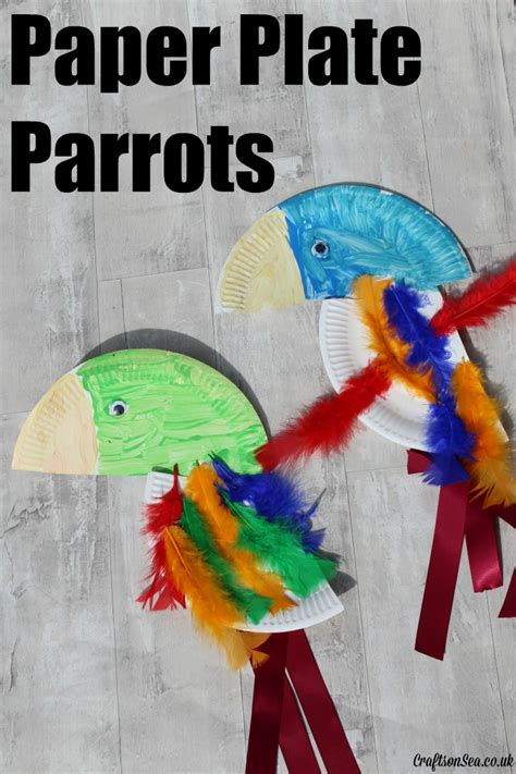 how to make parrot with craft paper paper plate parrots crafts on sea