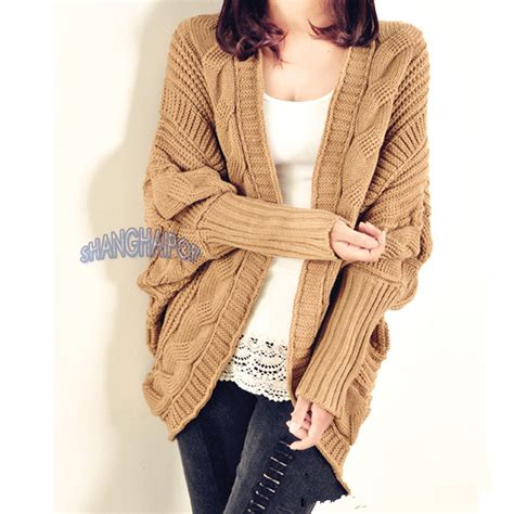 womens chunky knit cardigan cable knit cardigan chunky open cape batwing