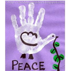 handprint craft for handprint peace dove