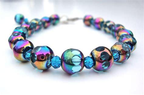 blue beaded bracelet blue bead bracelet glass bead bracelet by sparklecityjewelry