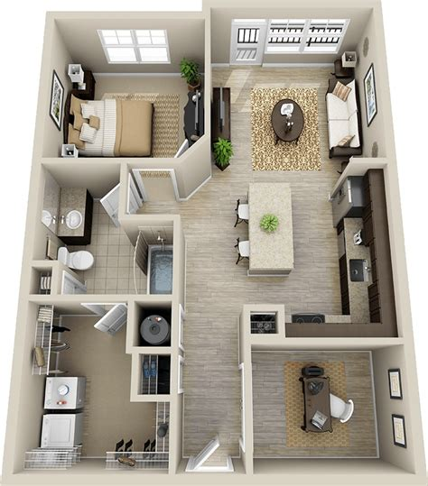 Kitchen Dining Room Floor Plans 50 one 1 bedroom apartment house plans architecture