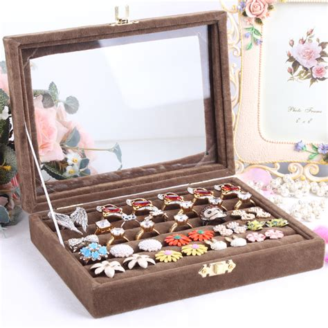 how to make ring holder for jewelry box small ring jewelry box glass cover ring storage box stud