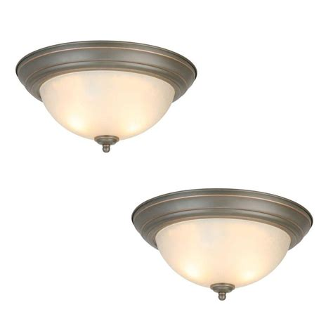 light fixtures for home commercial electric 2 light rubbed bronze flushmount
