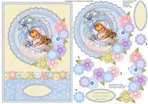 baby decoupage vintage new baby boy florals topper decoupage