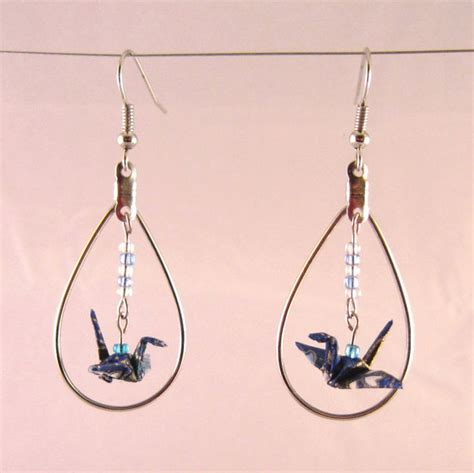 how to make origami crane earrings origami crane earrings in dangling hoop useful origami