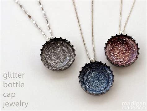 reuse gold to make new jewelry diy glitter necklaces from bottle caps