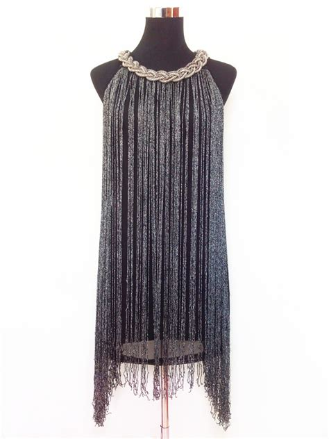 beaded charleston dress great gatsby ombre black fringe beaded 1920s flapper