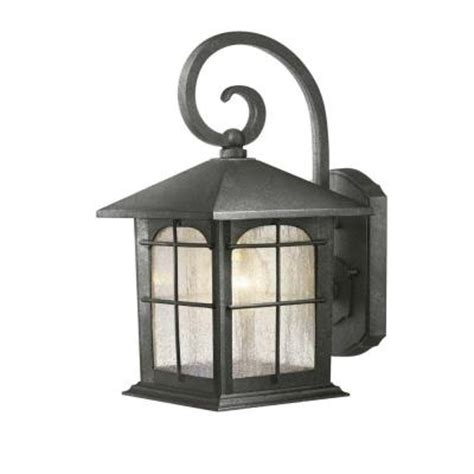 home depot outdoor wall lighting hton bay 1 light aged iron outdoor wall lantern y37029