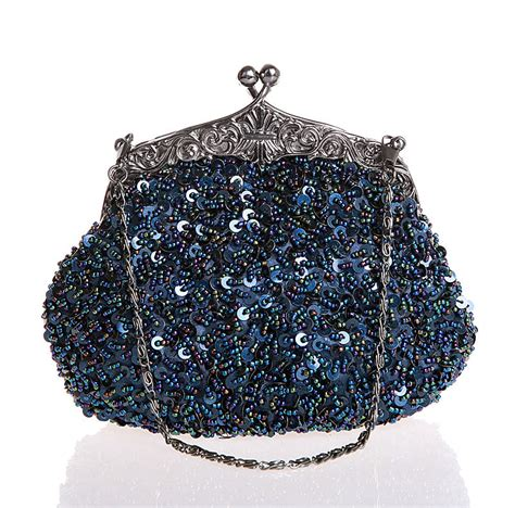 navy beaded clutch satin clutch evening bag navy blue promotion shop for