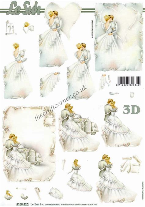 wedding decoupage sheets and groom wedding 3d decoupage sheet