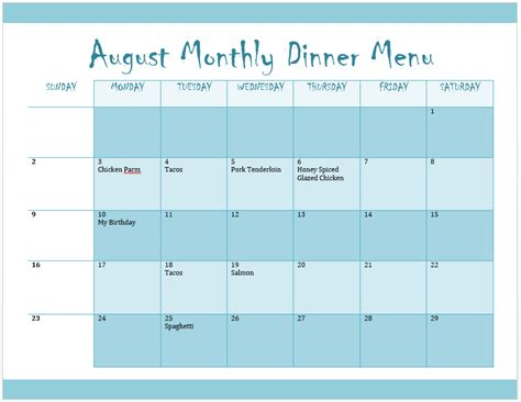 monthly menu template format amp template