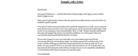 sales letters business letter examples
