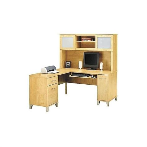l computer desk with hutch bush somerset l shape wood w hutch maple cross computer