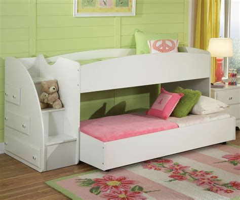 low bunk beds with stairs bedroom pink and white solid wood bunk bed for