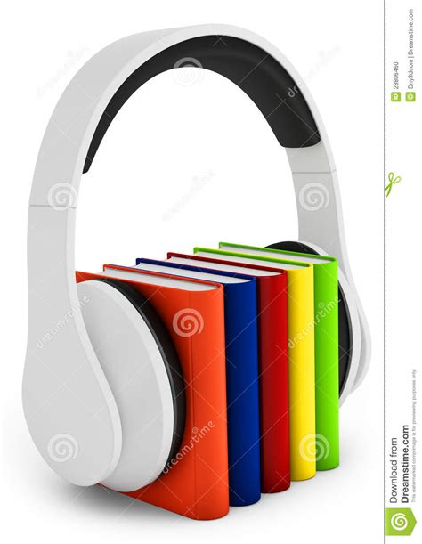 audio picture books free 3d headphones with books audio book concept stock photo