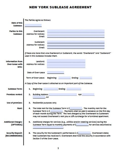 free new york sub lease roommate agreement pdf word