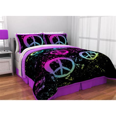 peace sign bedding latitude peace paint reversible bed in a bag bedding set