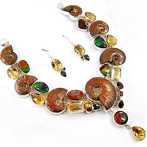 gemstones jewelry ammolite citrine garnet smoky quartz 925 sterling silver
