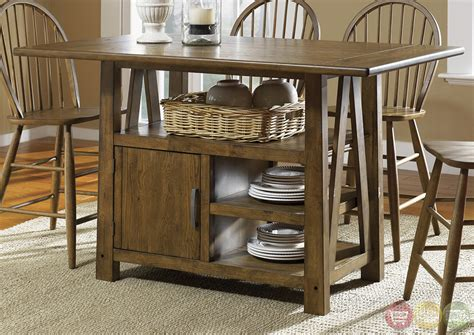 storage dining tables farmhouse counter height storage table casual dining set
