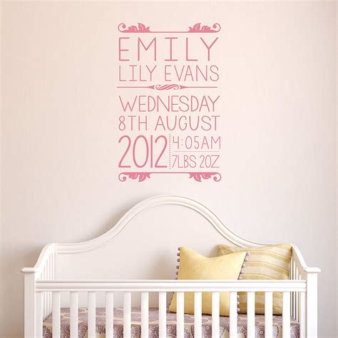 baby stickers for wall personalised baby wall sticker by oakdene designs