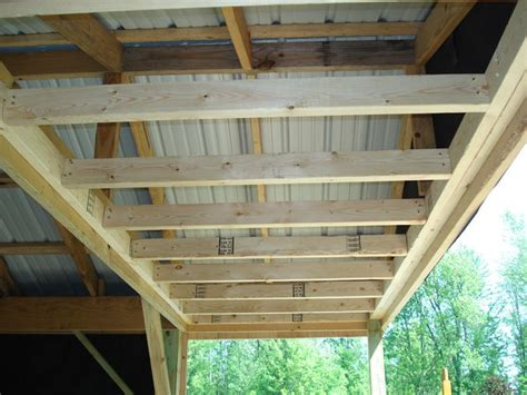 Do Ceilings Have Studs by Small Wood Cabin Step 12 Studding In The Porch Ceiling