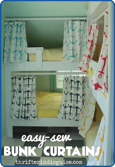 loft bed curtains a thrifter in disguise easy sew diy bunk bed curtains