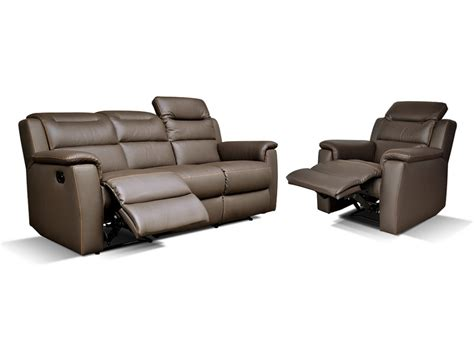 canap 233 et fauteuil relax cuir sofia anthracite