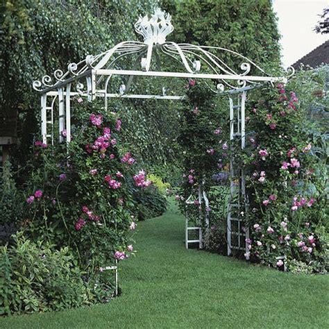 White Garden Arch Uk Garden With White Arbour Garden Design