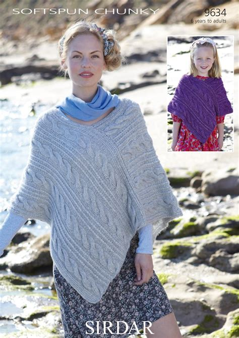 chunky poncho knitting pattern 9634 sirdar softspun chunky poncho knitting pattern to