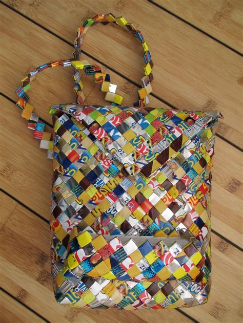 bag crafts mexican crafts bag made from recycled plastic packages