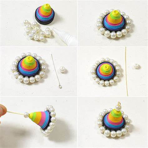 quilled jewelry tutorials step by step easy handmade colorful quilling paper cone dangle earrings