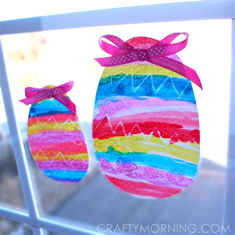 easter egg crafts for crayon resist easter egg window decorations crafty morning